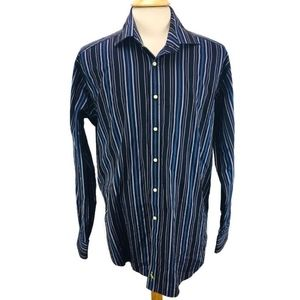 Tailorbyrd Button Shirt Navy Blue  Stripe 2XL